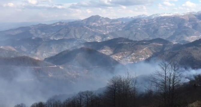 Trabzon'un Dernekpazarı ilçesindeki örtü yangınları devam ediyor