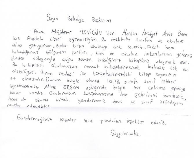 Lise öğrencisi Müjdenur'un mektubuna 2 bin kitapla cevap