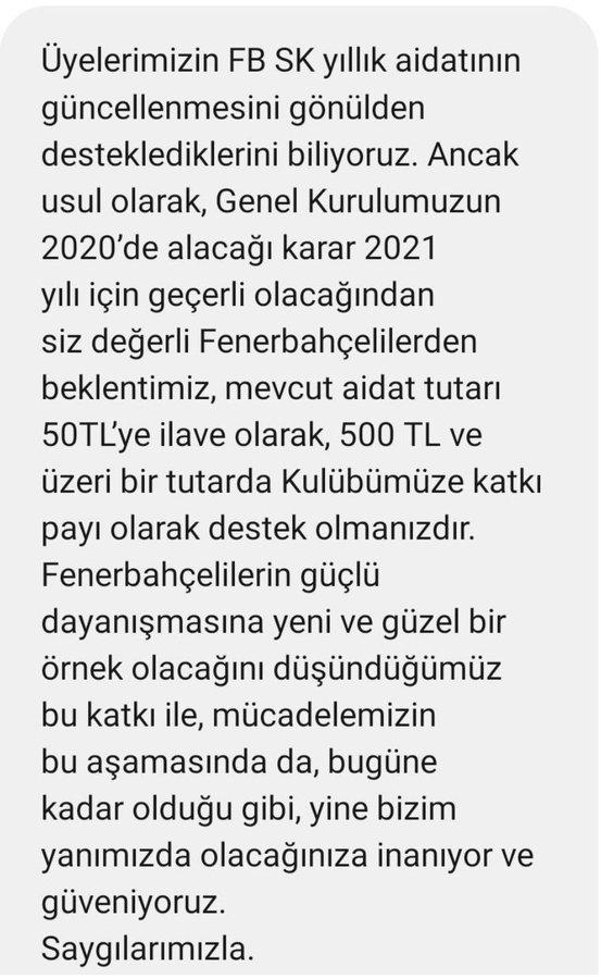Fenerbahçe yine para istiyor! Bağış yapmaları istendi
