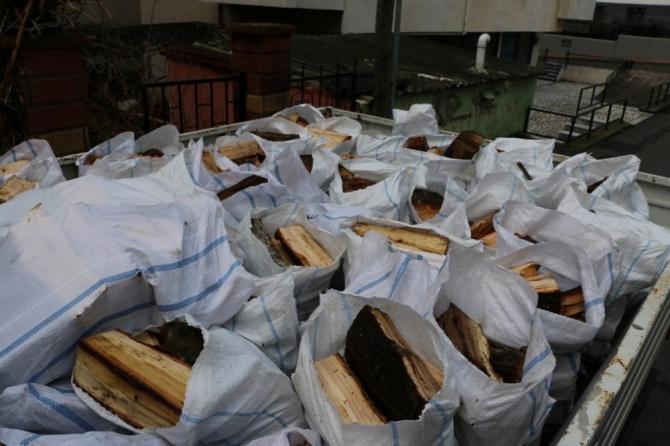 Budanan ağaçlardan elde edilen odunlar Kartallı Kudret teyzenin evini ısıtacak