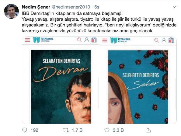Nedim Şener'den Selahattin Demirtaş'a ilişkin dikkat çeken paylaşımlar