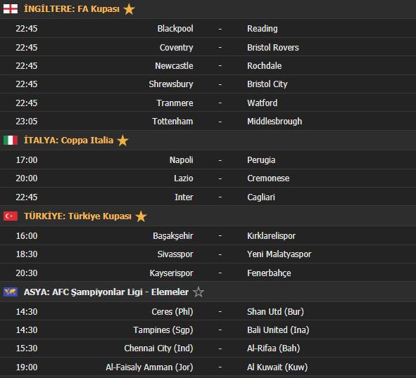 Bugün hangi maçlar var | 14 Ocak maç takvimi