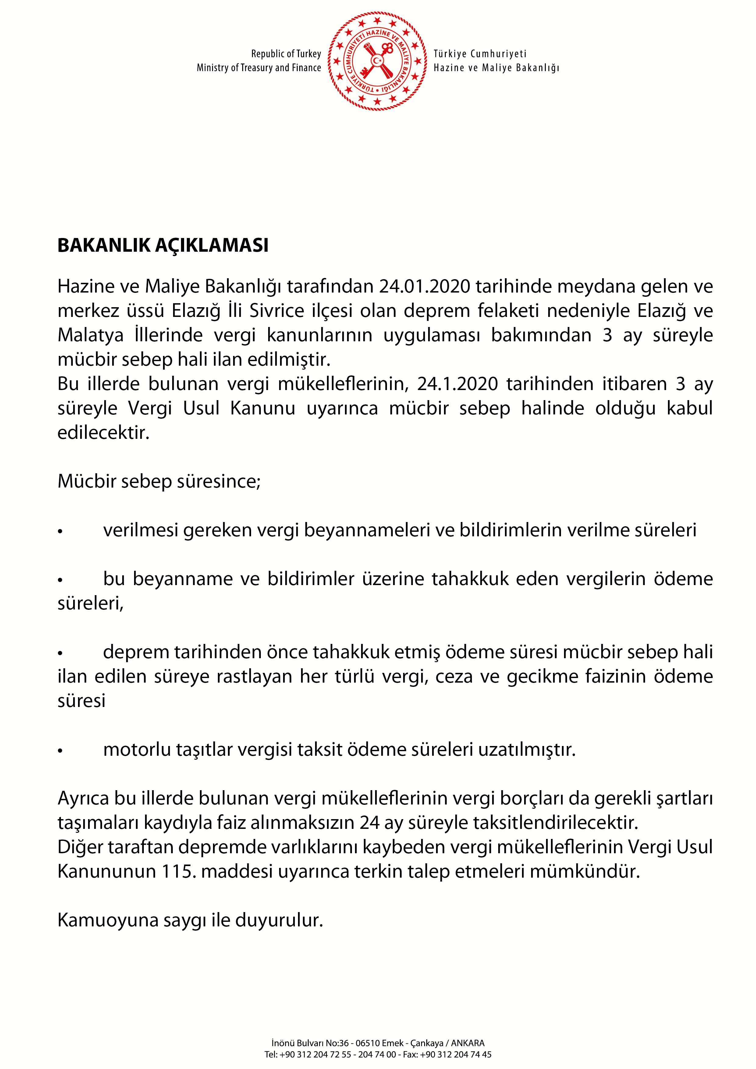 Elazığ ve Malatya'da mücbir sebep hali ilan edildi