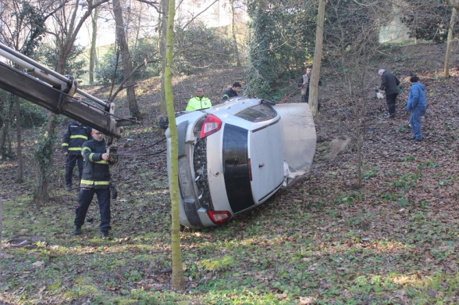 Kontrolden çıkan otomobil mesire alanına uçtu: 1 yaralı