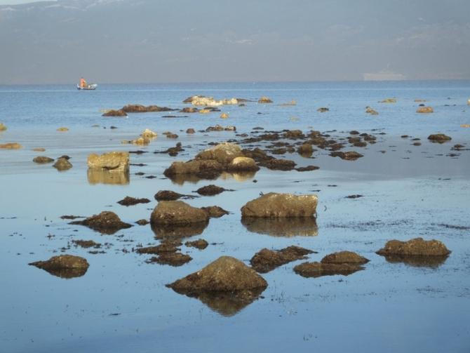 Burhaniye'de deniz çekildi, 2 bin 500 yıllık liman ortaya çıktı