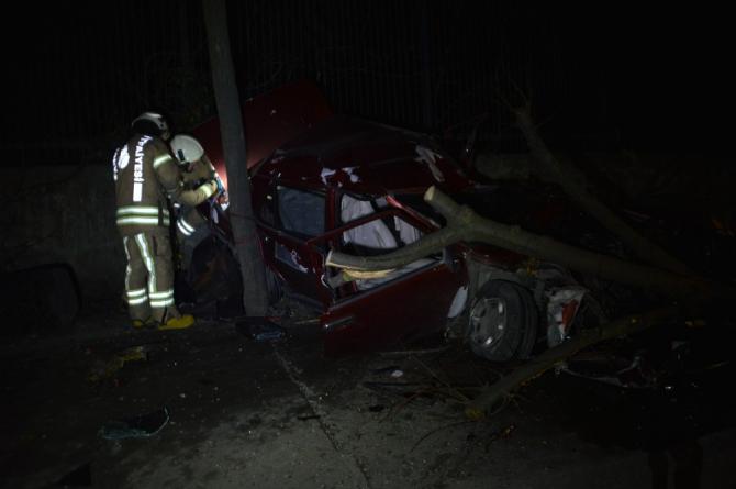 Sürücüsünün hakimiyetini kaybettiği otomobil önce ağaca çarptı