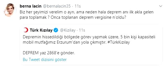 Deprem paylaşımı yapan Berna Laçin'e savcılık şoku!