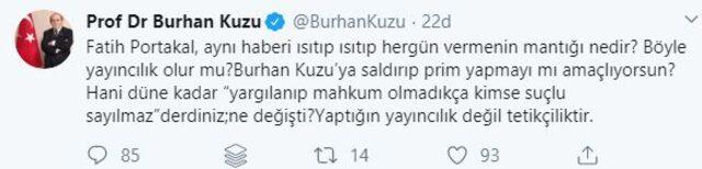 """Burhan Kuzu'dan Fatih Portakal'a sert sözler: ''Yaptığın tetikçiliktir"""""""