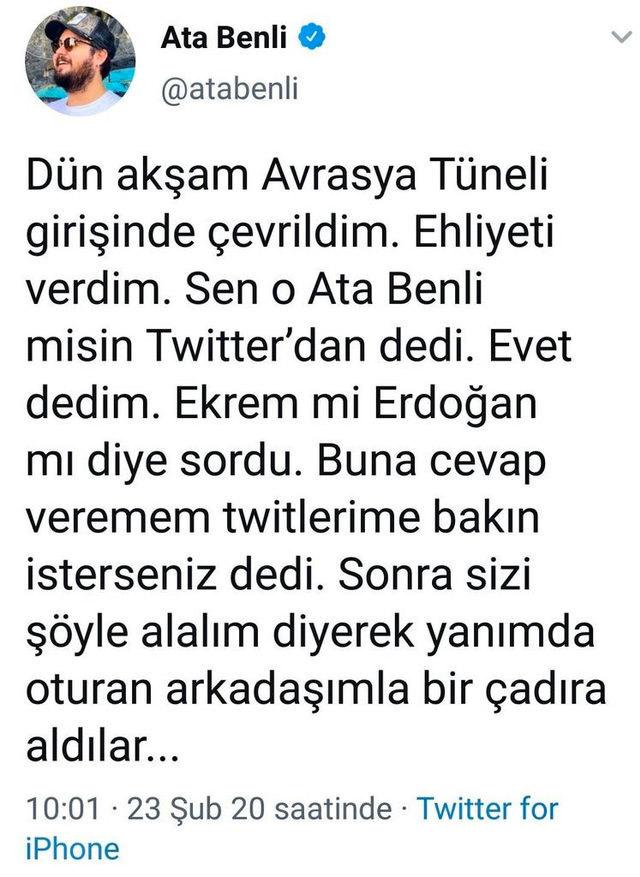 Twitter fenomenine alkol testinde skandal soru iddiası! Erdoğan mı, İmamoğlu mu?