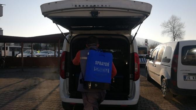 Polis araçları dezenfekte edildi