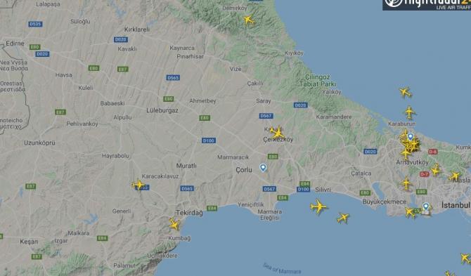 Uçuş yasağı hava trafik radarına böyle yansıdı