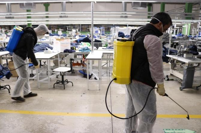 OSB'deki fabrikalar dezenfekte edildi