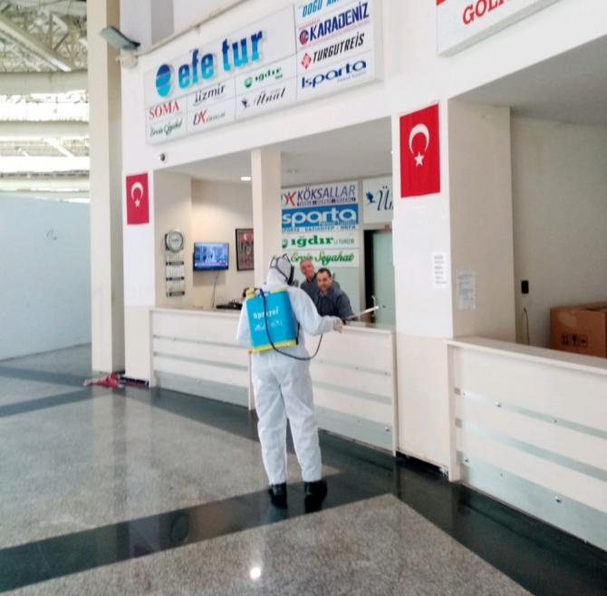 Terminallerde dezenfekte çalışmaları devam ediyor