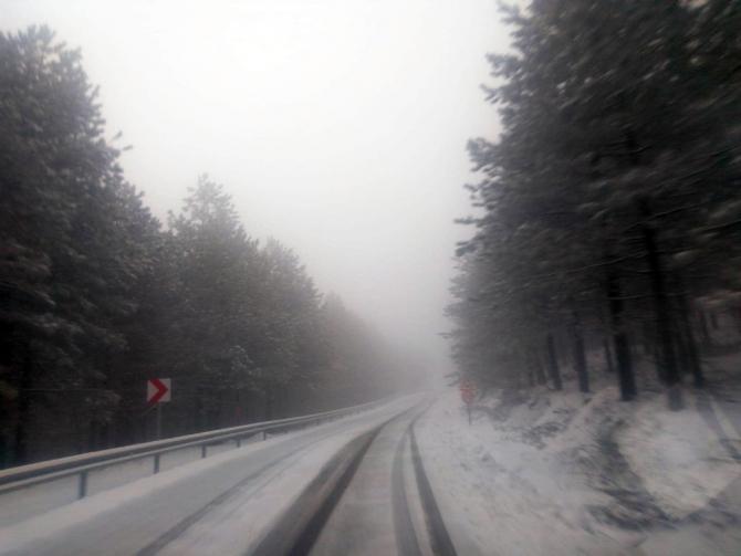 Kocaeli'nin yüksek kesimlerinde kar yağışı devam ediyor