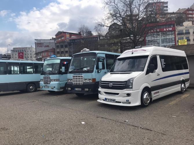 Şehir içi minibüslere dezenfeksiyon çalışması