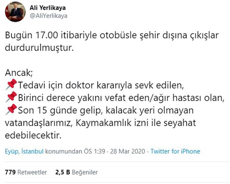 """Vali Ali Yerlikaya açıkladı: """"Otobüsle şehir dışına çıkışlar durdurulacak"""""""
