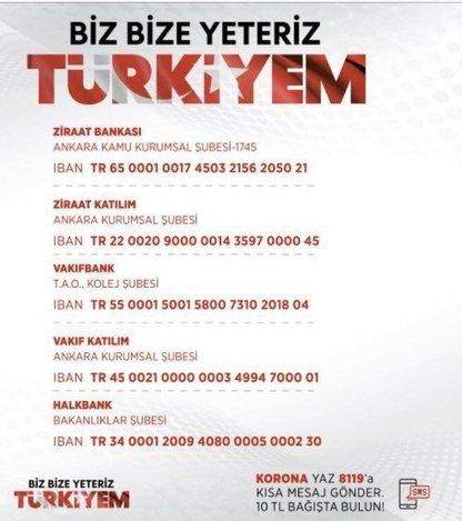 Milli Dayanışma Kampanyası nedir? SMS numarası nedir? Biz Bize Yeteriz Türkiyem hesap numaraları nedir?