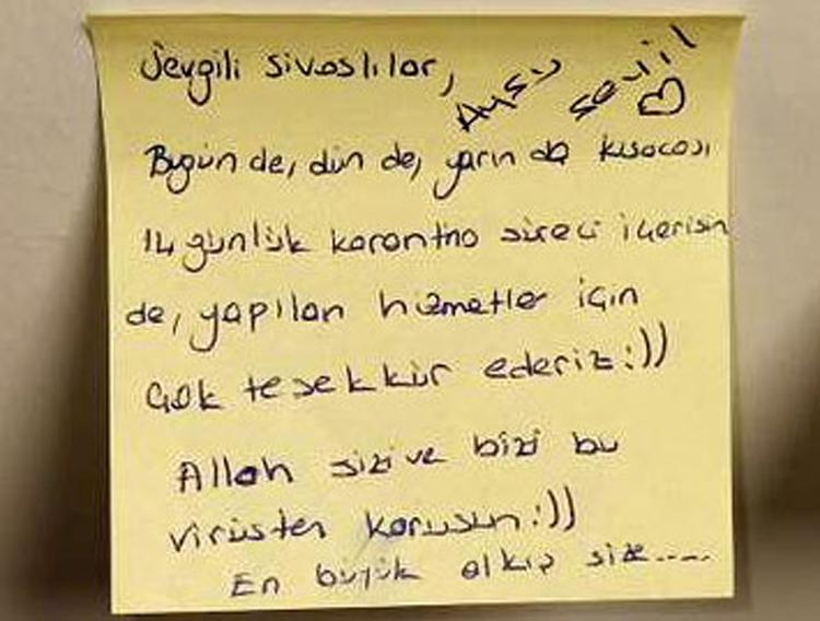 Sivas'ta karantinadaki öğrencilerden duygulandıran sözler