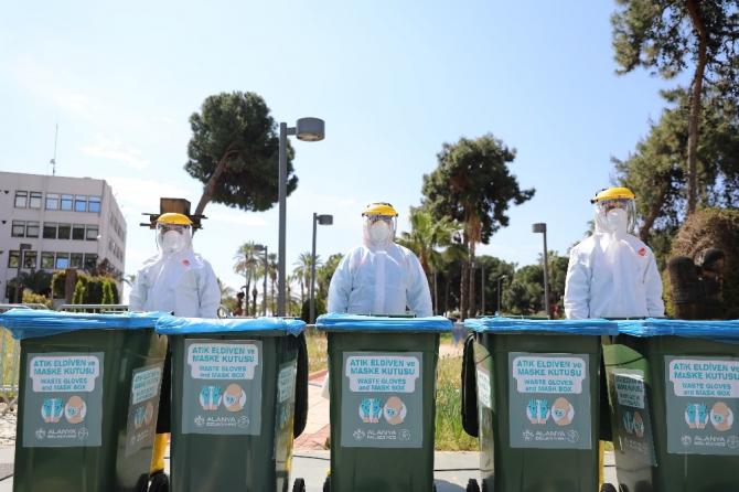 Alanya Belediyesinden atık maske ve eldivene önlem