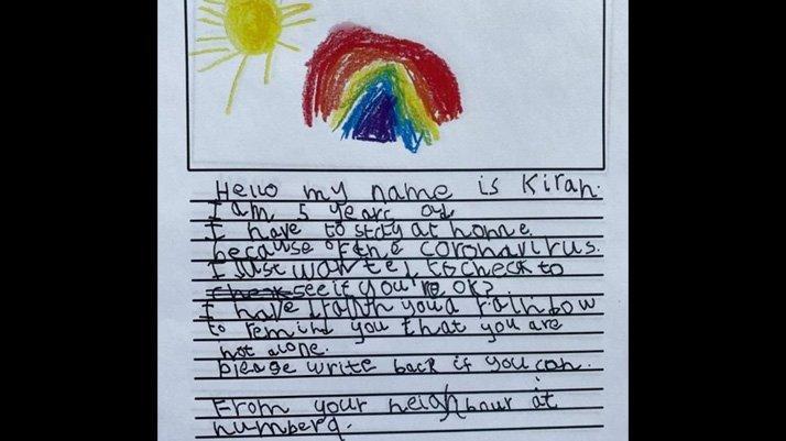 5 yaşındaki kız, 93 yaşındaki komşusunun sağlığından endişe duyarak mektup yazdı
