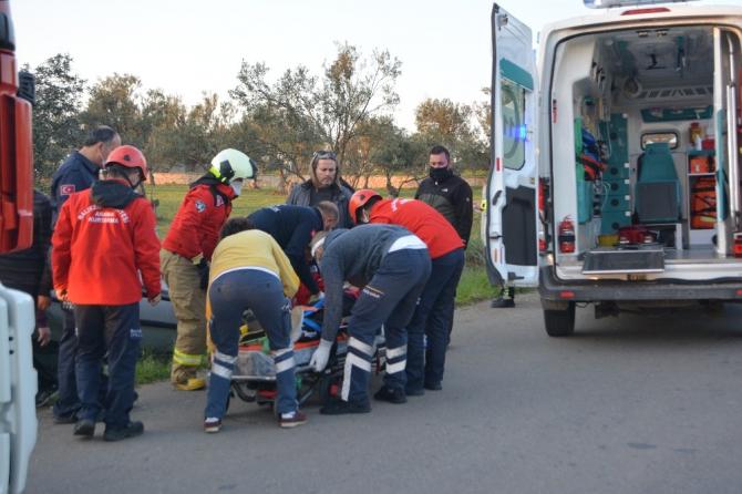 Ayvalık'ta otomobil takla attı: 1 yaralı
