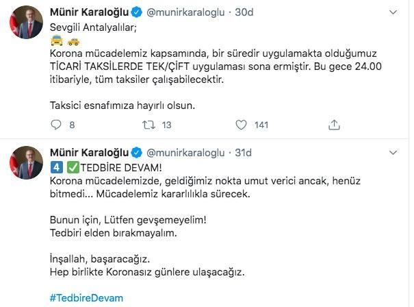 """Antalya Valisi Karaloğlu: """" Geldiğimiz nokta umut verici ancak gevşemeyelim"""""""