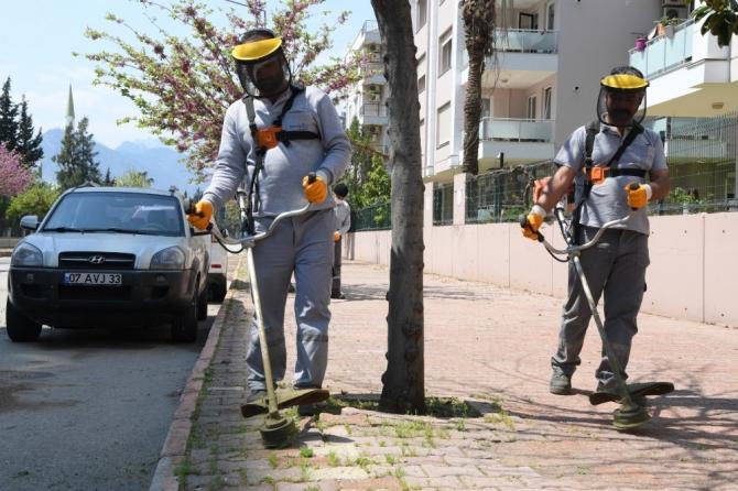 Konyaaltı'nda sokak ve kaldırımlar temizleniyor