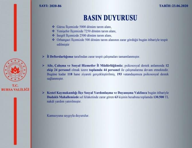Bursa'da doğa olayında hasar tespiti yapıldı