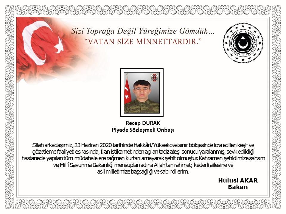 MSB açıkladı: Yaralanan askerimiz şehit oldu
