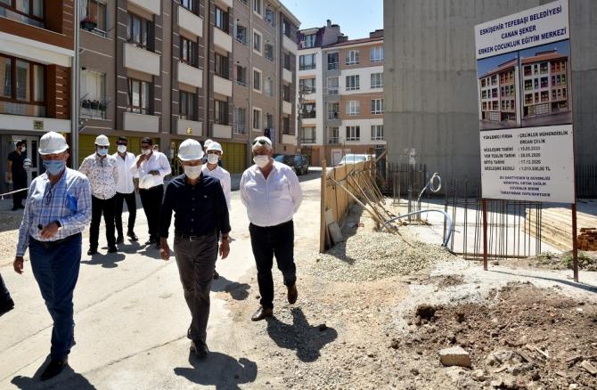 Başkan Ataç, Canan Şeker Erken Çocukluk Eğitim Merkezi inşaatını inceledi