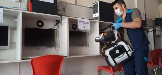 Sincan'da düğün salonu ile internet ve oyun salonları dezenfekte ediliyor