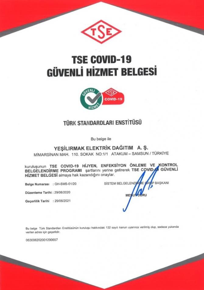 """YEDAŞ'a """"Covid-19 Güvenli Hizmet Belgesi"""""""