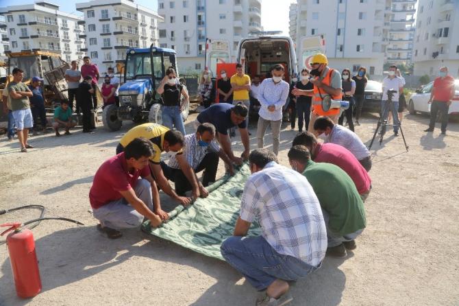 Erdemli Belediyesi'nden yangın ve ilk yardım tatbikatı