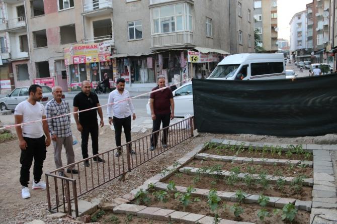 Depremde hasar alıp yıkılan binanın yeri bahçe oldu