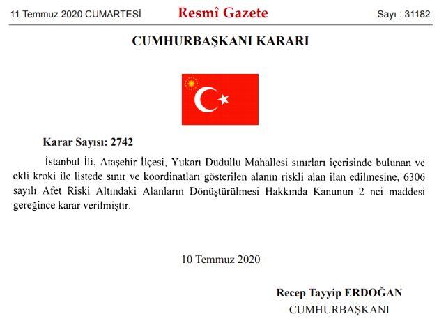 Cumhurbaşkanı Erdoğan karar verdi! İstanbul'da o mahalle 'riskli bölge' ilan edildi