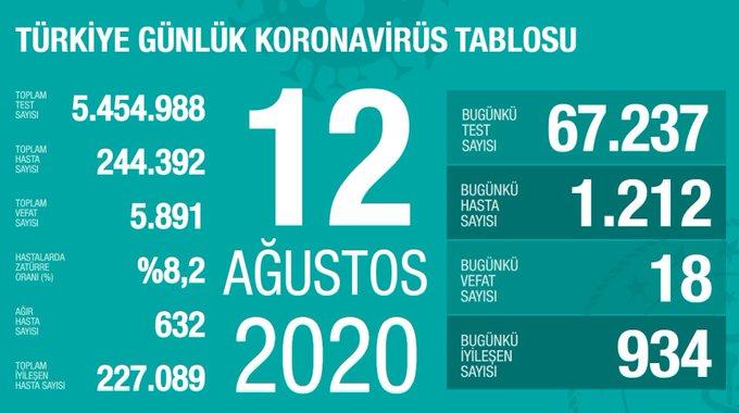 12 Ağustos corona virüs tablosu|Vaka sayısı kaç oldu bugün?