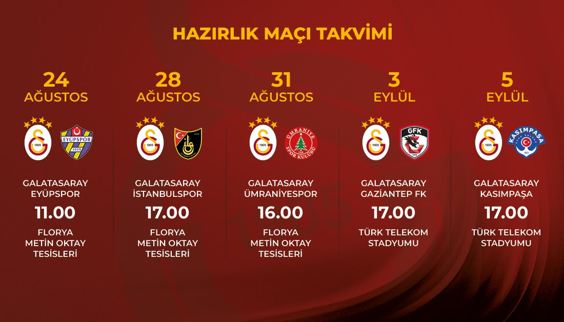 Galatasaray'ın hazırlık maçı programı belli oldu!