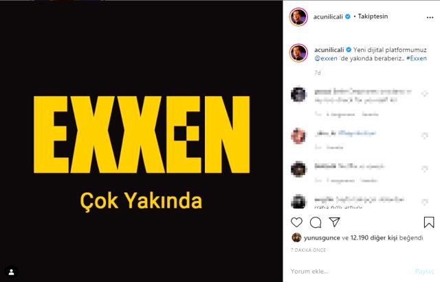 Acun Ilıcalı 'Exxen'i sosyal medyadan duyurdu!