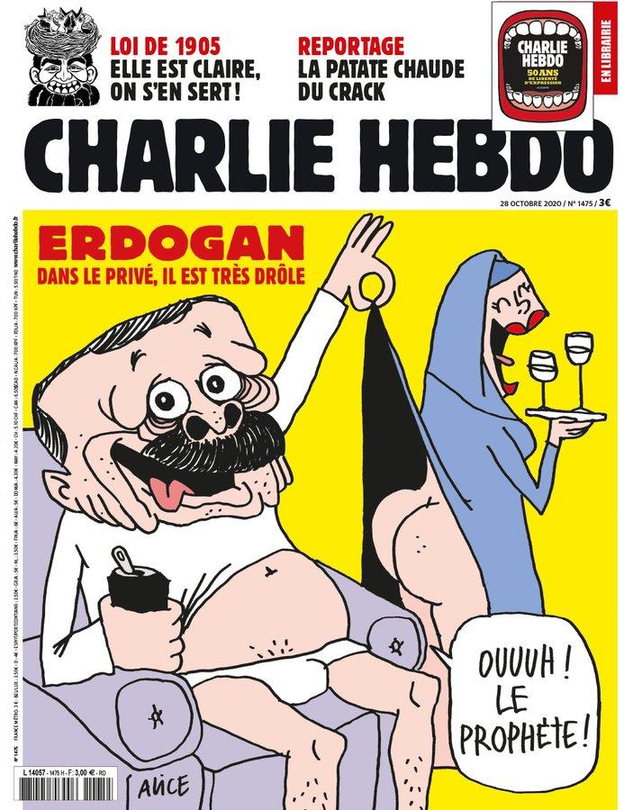 Charlie Hebdo'dan hakaret içerikli Cumhurbaşkanı Erdoğan karikatürü