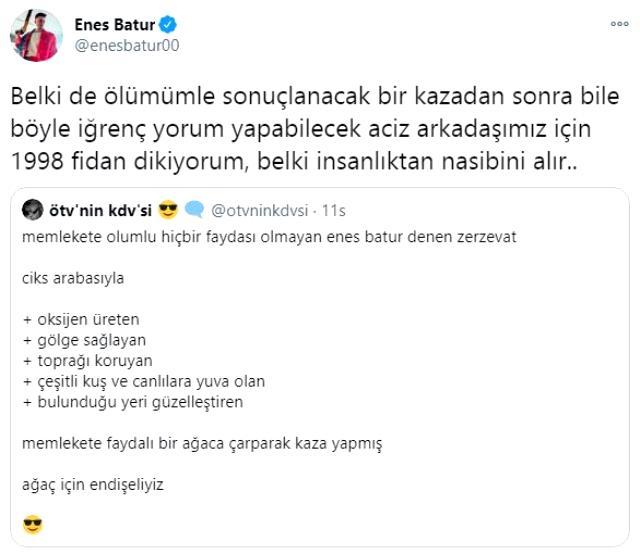 Enes Batur, yaptığı hareketle kazasına yorum yapanları yerin dibine soktu!