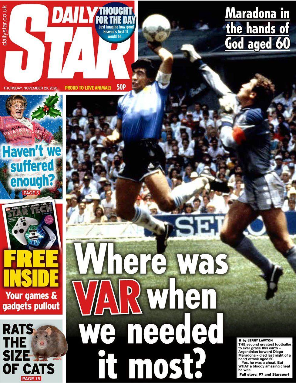 İngiliz basınından Maradona için 'Hilekar' başlığı!