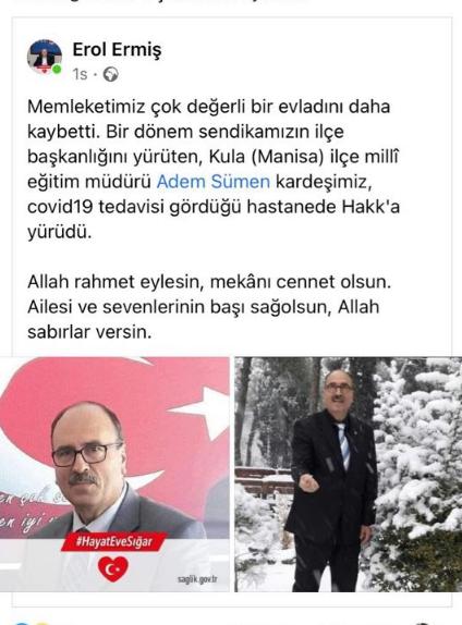 Kula İlçe Milli Eğitim Müdürü Adem Sümen koronavirüs nedeniyle hayatını kaybetti!