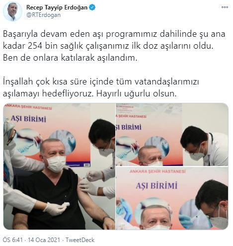 Erdoğan aşı olduktan sonra açıklama yapıyor