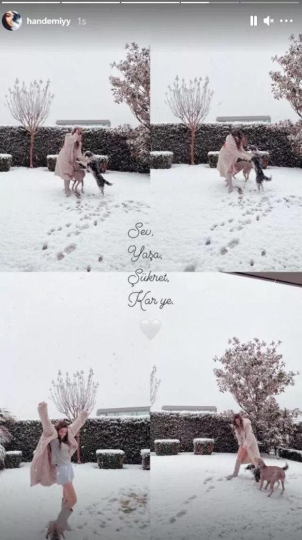 Hande Erçel kar yağdığını görünce şortuyla dışarı fırladı!