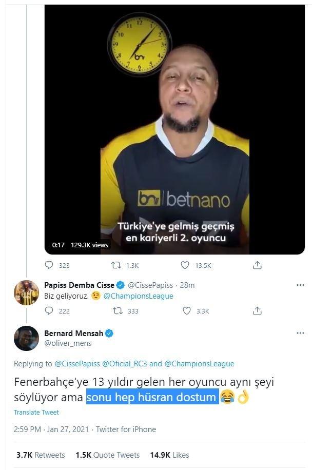 Beşiktaşlı Mensah'ın Papiss Cisse'ye cevabı sosyal medyada çok konuşuldu!