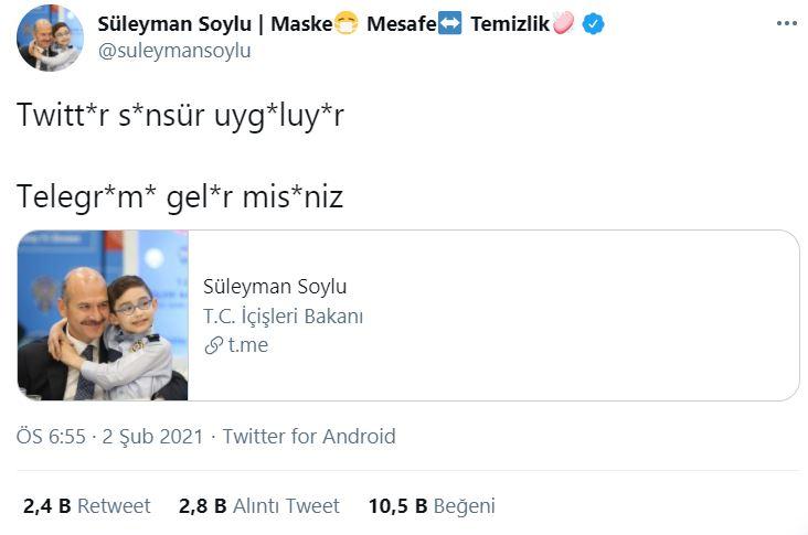 Bakan Soylu'dan Twitter'a sansür tepkisi
