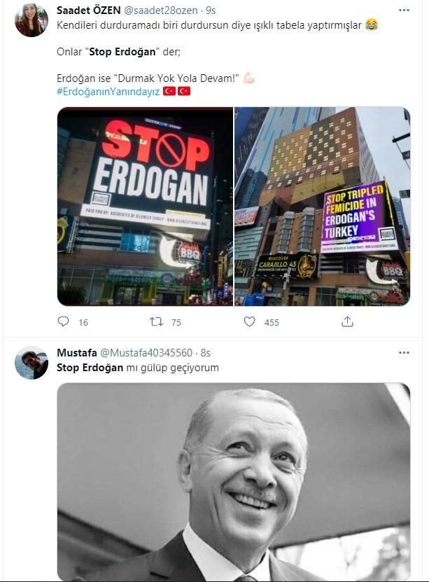 ABD'de kara propaganda! FETÖ'cüler Stop Erdoğan ilanlarıyla Cumhurbaşkanı Erdoğan'ı hedef aldı