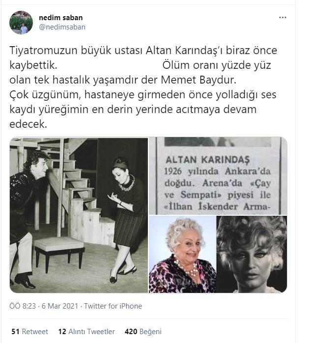 Son dakika... Usta oyuncu Altan Karındaş hayatını kaybetti