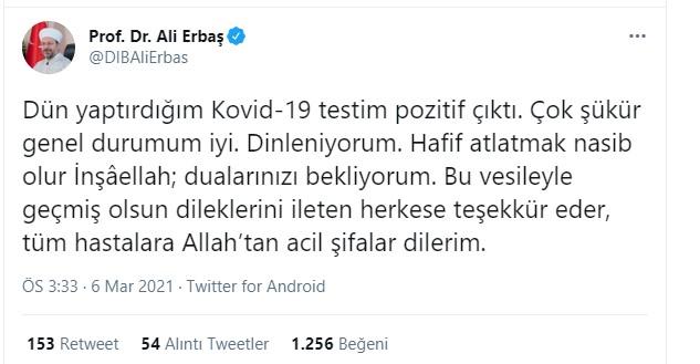 Son dakika  Diyanet İşleri Başkanı Ali Erbaş, koronavirüse yakalandı