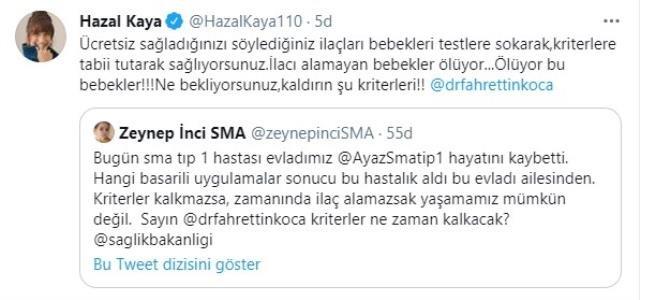 Hazal Kaya Fahrettin Koca'ya isyan etti!